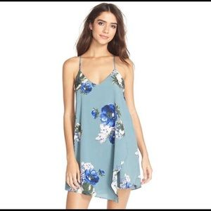 Free People Slate Blue Floral Cascade Slip Dress